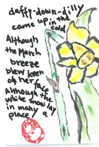 "Daffy Down Dilly poem by Anna Warner, (""Amy Lothrop"") Daffodil Etegami"
